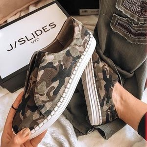 J/Slides Camo Karla Suede Laceless Sneakers 10